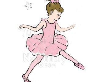 nursery art, Archival Art print, Sweet Ballerina, child's room, girl's room, little dreamer and ballerina, pink tutu, ballet slippers, gift
