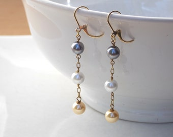 Gold Chain Drop Earrings with Triple Swarovsky Pearls - Free Shipping