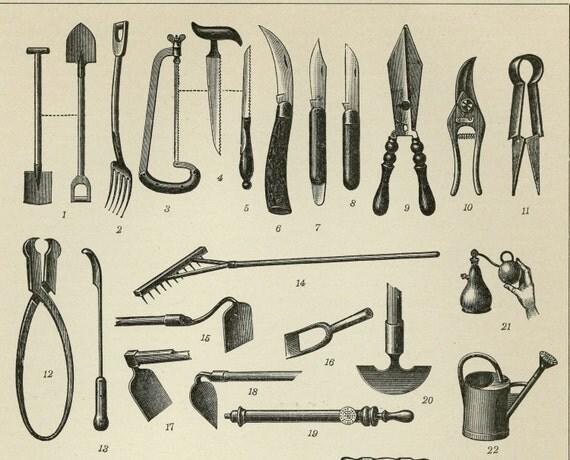 Matted Antique Garden Tools Print Antique by AntiquePrintBoutique