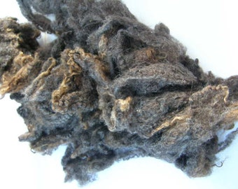 Chocolate and grey Lamb's fleece - Small portions (Washed)