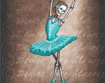 "8x10 Day of the Dead Giclee print, ""The Ballerina"""