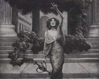 "Pandora. Illustration. Graphite on canvas. Art Print. 12""x18""."