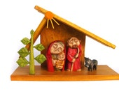 CHRISTMAS CRIB handcrafted wooded construction sculpture