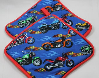 """Motorcycle Pot Holders/Hot Pads - """"Motorcycles Flames""""- Designer - Perfect gift for the Biker! Very Thick - Kitchen Item - Gift under 30"""