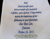 Father of the Groom,Wedding Handkerchief, Keepsake,Wedding Gift,Bridal Party Gifts, Free Gift Boxes. (F)