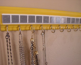 "Jewelry organizerThis necklace holder on yellow w/ gray mosaic tile design 11.5"" w/ 9 hooks.Necklace organizer jewelry storage .A great gift"