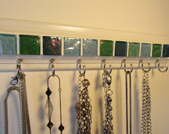 Jewelry organizer .This necklace holder rack has beautiful blue mosaic tile 11.5 w/ 7 hooks.Necklace organizer jewelry storage A great gift