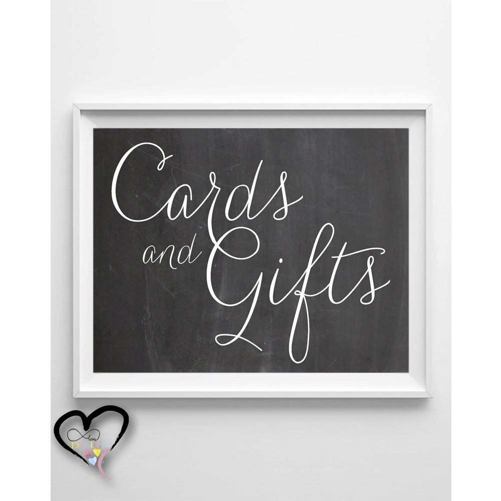 Wedding Cards and Gifts Sign. Chalkboard Wedding Sign.