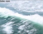 CANVAS Wave art print, nautical decor, minty green, ocean and sea photography, minimalist art print, bokeh, teal, white print
