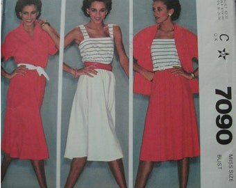 Misses Top, Camisole and Skirt Size 12 Bust 34 McCalls Make It Tonight Wear It Tomorrow Pattern 7090 Vintage UNCUT Pattern 1980