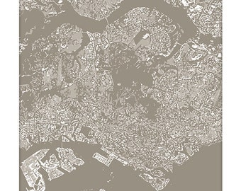 Singapore Cityscape / Singapore Map Art Print City Wall Art / 8x10 Poster / Choose your color
