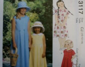 McCall's 3117 Girls Dress Sewing Pattern New/Uncut Size 10-12-14