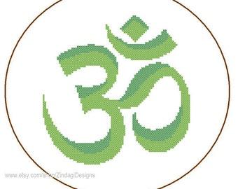 Modern Cross Stitch Pattern Om Symbol Aum Hindu chant meditation yoga