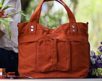 Calla / Large / Burnt Orange /Lined with Grey Stripes /Ship in 5 days // Diaper bag / Shoulder bag / Tote bag