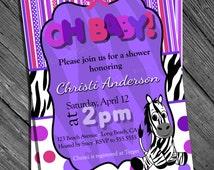 Digital Pink and Purple Zebra Print Baby Shower Invitation Printable Polka Dot and Stripe Shower Invitation