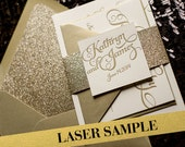 Gold Glitter Laser Printed Wedding Invitation, Calligraphy Invitation, Gold Invitation - Sample Set