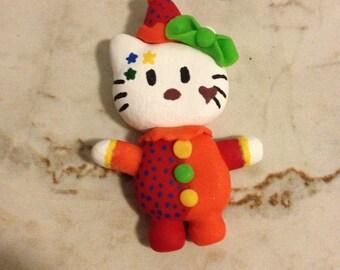 Handmade Polymer Clay Hello Kitty Clown