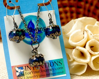 WELLBEING - Handmade Inspirational Jewelry - Glass Lampwork Pendant Necklace and Earrings