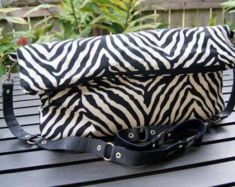 Hand Made Zebra Print Purse, folder over with full zipper