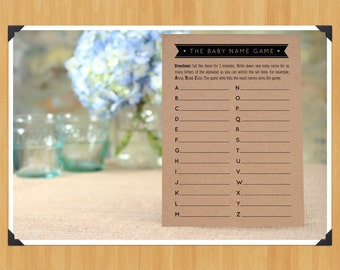 Printable Baby Shower Baby Name Game, DIY, Instant Download, Printable PDF, Black and White