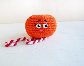 Dreamy orange mandarin /Crochet toy /Soft eco-friendly toy/For baby/ Teether /For kid's room decor/ Made with love
