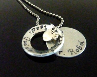 Teacher necklace Hand stamped Layered Apple Necklace Personalized jewelry