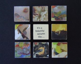 Autumn Art -  Fall Mosaic - Shadow Box Frame -  Original & Handmade  - Abstract Style - Gallery Wall Decor - It's a Beautiful Autumn Day