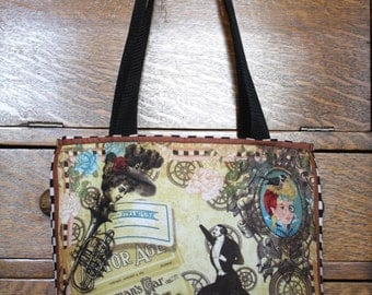Steampunk Purse with Panel Designs on Front and Back Side