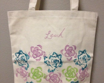 Set of 5 Personalized Name Bridesmaid totes with your choice of colors and tag.