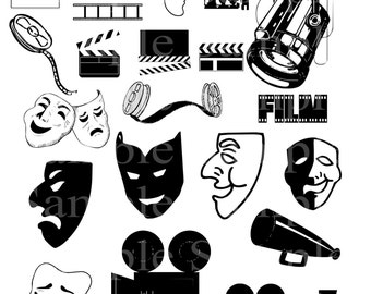 Hollywood Clipart INSTANT DOWNLOAD Hollywood Clip art Hollwodd Red Carpet Clipart Invitations Personal and Commercial use
