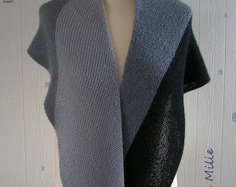 light grey / grey: black shawl, hand knitted, alpaca/silk