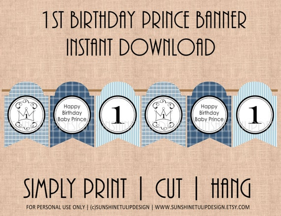 1st birthday prince printable diy banner by