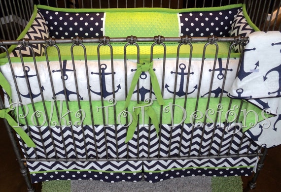 skipper  nautical navy  u0026 lime baby bedding