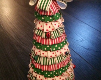 Green and Red Christmas Ribbon Tree