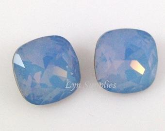 4470 AIR BLUE OPAL 12mm Swarovski Crystal Fancy Stone Cushion Cut