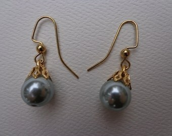 Pearl Earrings, Blue Pearl Earrings.