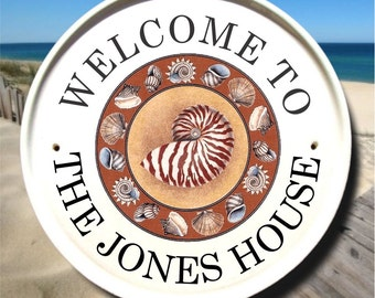 Beach House Sign with SeaShells / Family Name Sign/Beach Address Sign/Home Address Plaques/ Personalized Housewarming Gift/Welcome Sign