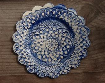 Decorative plate, Blue ceramic plate, lace plate