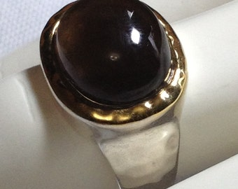 Sterling Silver Hammered Ring - Simple Statement Ring with a Gold-Plated Bezel Set Keystone.