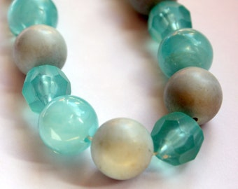 Vintage Light Blueish Green Beaded Necklace