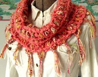 Handmade Crochet Scarf, Coral Pink Cream Yellow, Bright Spring Colors, Cowl or Stole