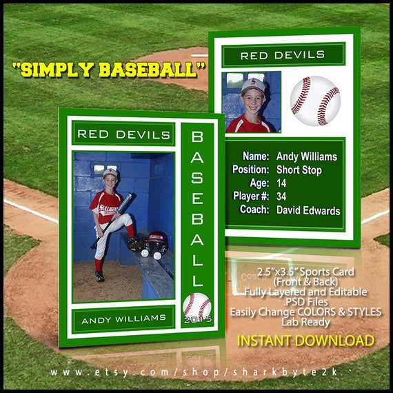 2017 baseball sports trader card template for photoshop simply. Black Bedroom Furniture Sets. Home Design Ideas