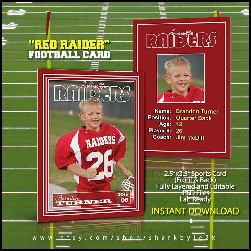 2017 football sports trader card template for photoshop red. Black Bedroom Furniture Sets. Home Design Ideas