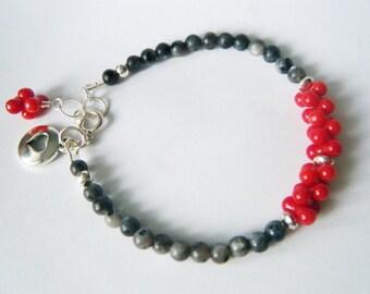 Labradorite, coral bracelet Black labradorite bracelet Sterling silver labradorite jewelry Gemstone bracelet OOAK bracelet Gift for her