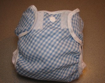 blue gingham cloth diaper cover, waterproof PUL, small