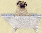 6 piece Bath Towel SET- rubba dub dub, PUG in the tub - Embroidered