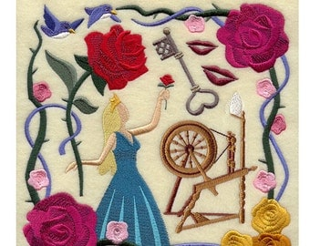 6 piece Bath Towel SET-  Sleeping Beauty fairy tale Princess Collage -  Embroidered
