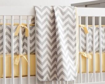 Gender Neutral Baby Crib Bedding / Girl Baby Bedding / Boy Crib Bedding: Gray and Yellow Zig Zag Crib Blanket by Carousel Designs