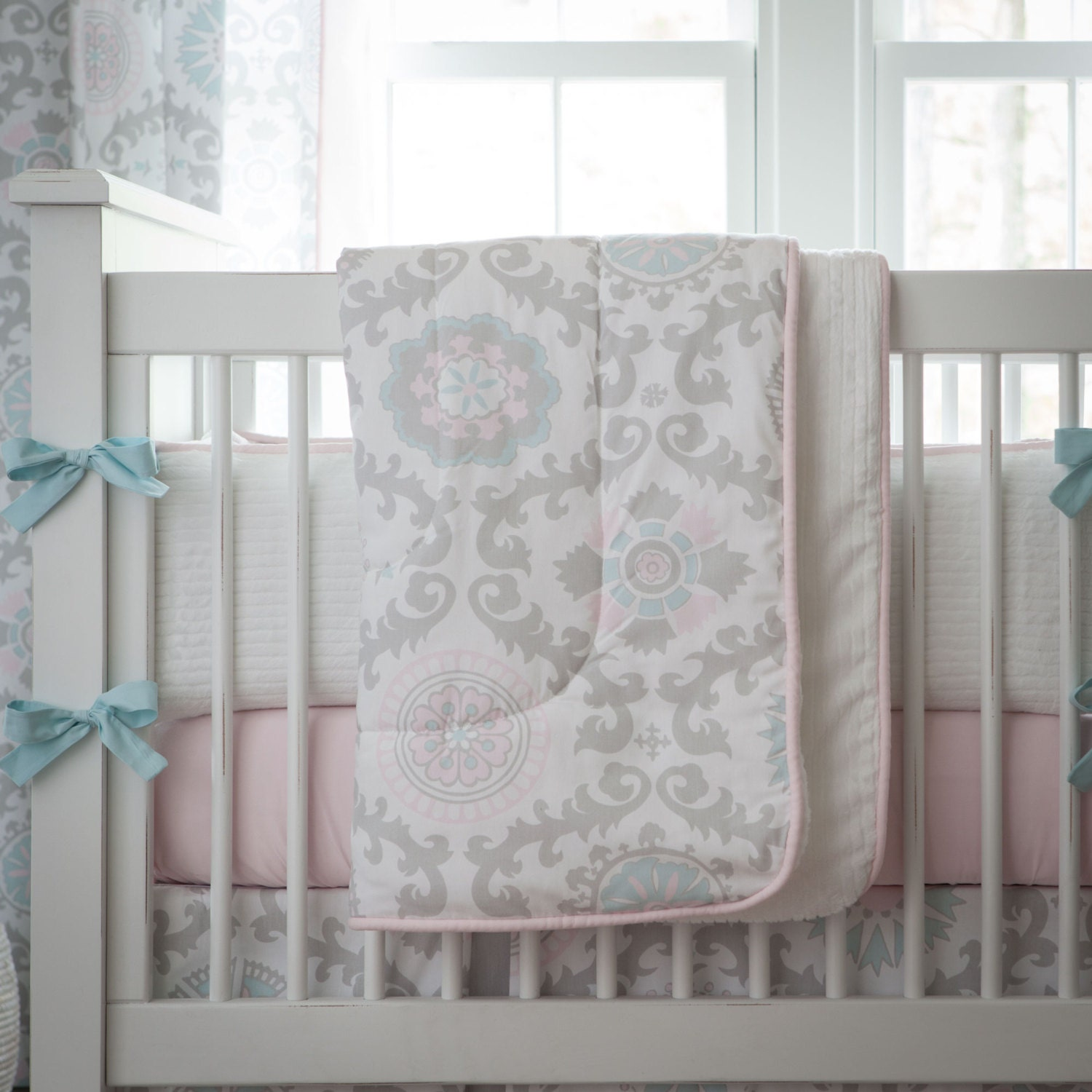 baby girl crib bedding pink and gray rosa crib comforter by. Black Bedroom Furniture Sets. Home Design Ideas