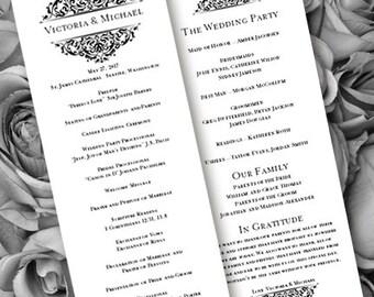 Wedding Ceremony Program Template Tea Length Grace Black